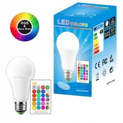 LED daugiaspalvė + šiltai balta lemputė su nuotoliniu valdymu