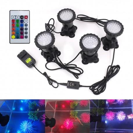 LED povandeninis - lauko prožektorius (RGB, 4 vnt. su pulteliu)