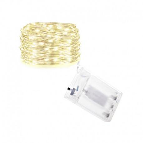 LED lempučių girlianda su baterijomis (Šaltai balta 100 vnt.)