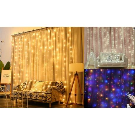 LED lempučių užuolaida su nuotoliniu valdymu (3m x 3m)