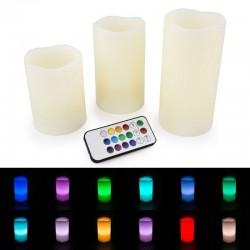 Daugiaspalvių LED žvakių komplektas su pulteliu