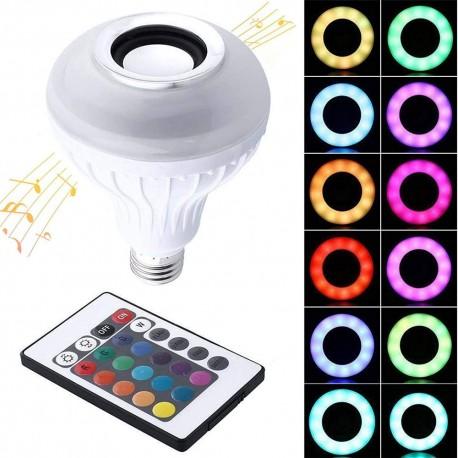 LED daugiaspalvė lemputė su garsiakalbiu ir Bluetooth