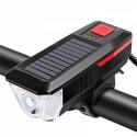 LED dviračio žibintas su saulės baterija ir signalu