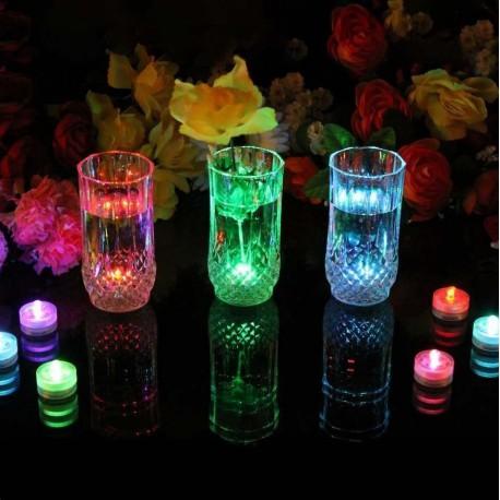 LED RGB žvakės su nuotoliniu valdymu (IP68, 10 vnt.)