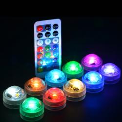 LED RGB šviestuvėliai su nuotoliniu valdymu (IP68, 10 vnt.)